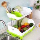 2 Tier Kitchen drip Tray Dish Plate Rack Storage Dryer Drainer Large Organizer