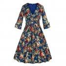 Hepburn Style Lapel Printing Big Peplum Vintage Dress