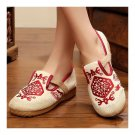 Flax Embroidered Old Beijing Cloth Shoes   red