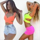 Hot Sale New Fashion fluorescent color burst models bustier sexy chest wrapped
