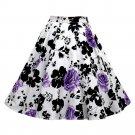 Hepburn Style Vintage Bubble Skirt A-line Pleated Skirt   white purple