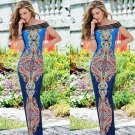 Sexy Boho Cold Shoulder Paisley Holiday Maxi Long Dress Party evening Event