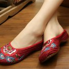 Chinese Embroidered Shoes Women Cotton sandals drag Burgundy