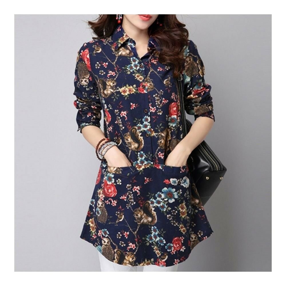 Plus Size Middle Long Loose Shirt   blue
