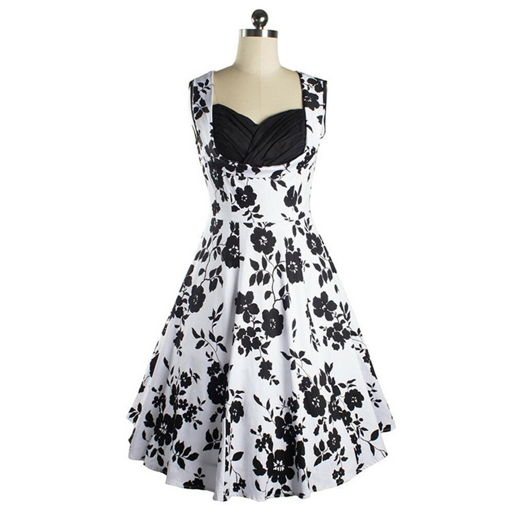 Vintage Hepburn Style Summer Sleeveless 50s Dress   black
