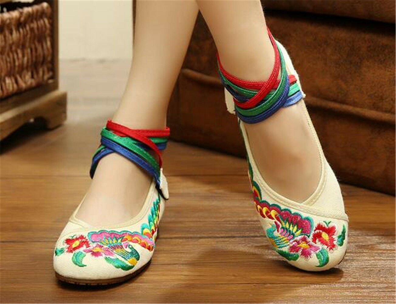Chinese Embroidered Floral Shoes Women Ballerina Mary Jane Flat Ballet Cotton
