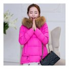 Winter Cotton Coat Slim Plus Size Thick Down Coat   rose red