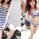 3pcs Women Striped Beach Swimwear Padded Push up Bikini + Dress set Skirt
