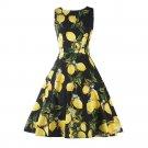 Summer Woman Printing Sleeveless Lemon Dress   black