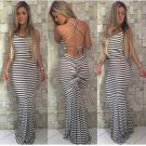 Sexy Black & White  Navy Stripe Ruched Back Maxi Long Party Event Formal Dress
