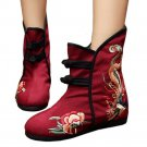 Peacock Vintage Beijing Cloth Shoes Embroidered Boots claret 35