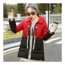 Winter Motley Middle Long Down Coat Loose Thick Warm   black+red