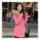 Winter Woman Slim Middle Long Fur Collar Hoodied Cotton Coat   pink