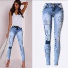 Sexy Blue Denim Cloth Patch Distress Skinny Stretch Jeans