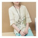 Han Chinese Clothing Improved Cotton&Flax Top Wear   beige