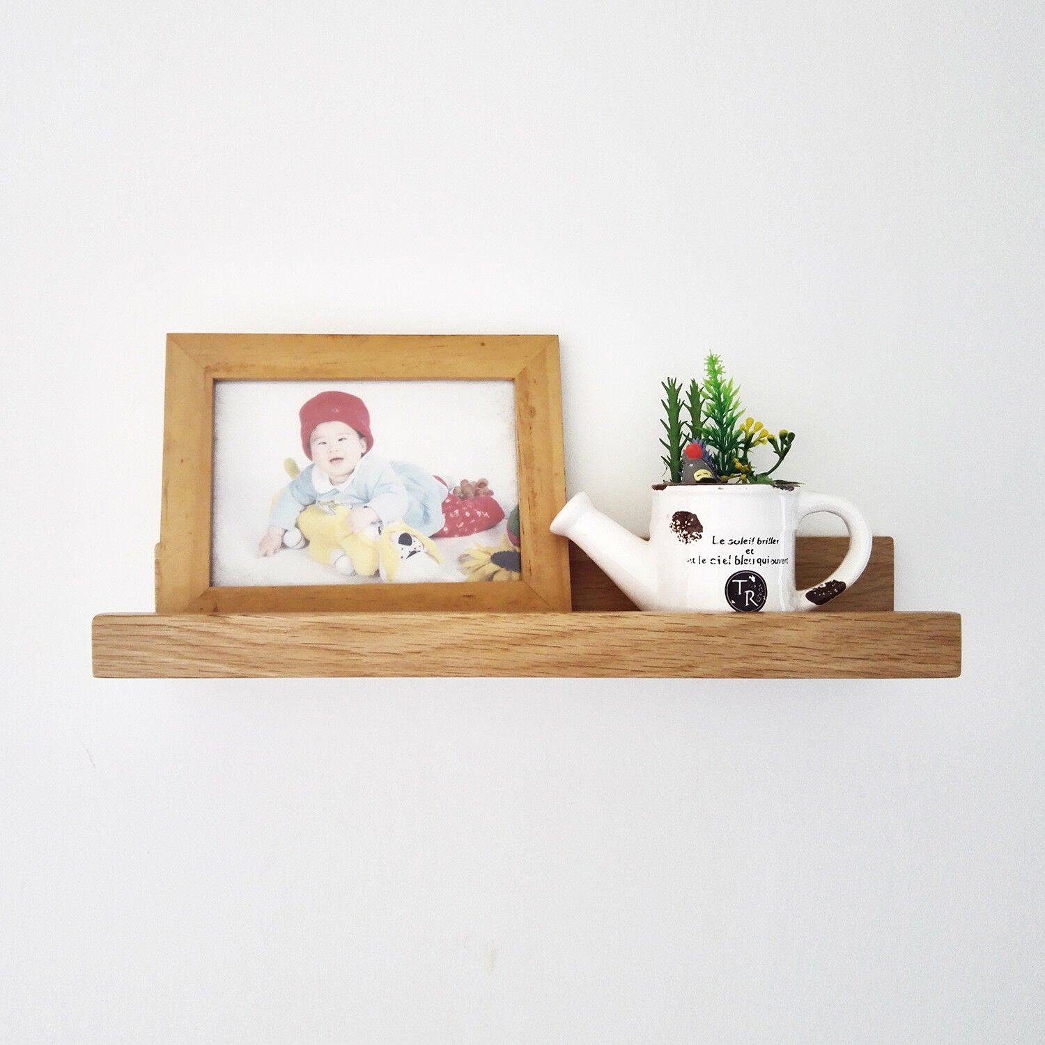 U-shape Photo Rack Rustic wood Storage Display  Wall Mount Floating Shelves 40cm