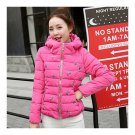 Winter Slim Embroidered Hooded Woman Down Coat   rose