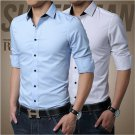 Mens Luxury Stylish Casual Dress Slim Fit T-Shirts Casual Long Sleeve