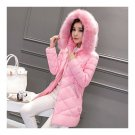 Winter Down Coat Woman Middle Long Hooded Slim Plus Size   pink