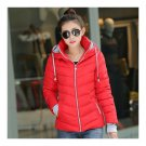 Winter Woman Hoodied Short Plus Size Down Coat   red