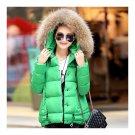 Winter Slim Candy Color Fur Collar Short Down Coat green