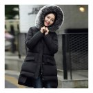 Plus Size Fur Collar A-line Middle Long Down Coat   black