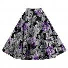 Hepburn Style Vintage Bubble Skirt A-line Pleated Skirt   purple