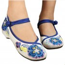 Small White Shoes Old Beijing Cloth Embroidered Shoes   blue
