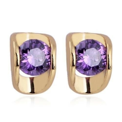 18K Gold Glavanized Austrian Zircon Earrings   purple