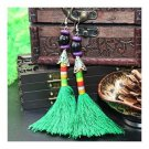Vintage Bead Tassel Long Earrings Bridal Wedding  green