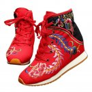 Sports Boots Vintage Beijing Cloth Shoes Embroidered Boots red 35