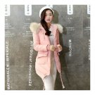 Woman Fur Collar Hoodied Slim Down Coat Middle Long Thick   pink