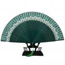 Butterfly Bone Lace Silk Folding Fan Artware    green