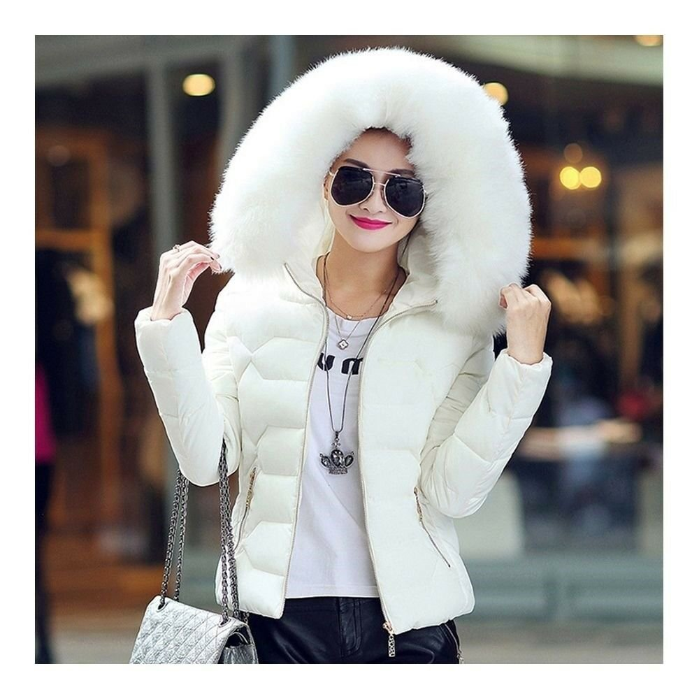 Winter Slim Chic Fur Collar Short Down Coat Woman Hooded   white