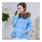 Winter Cotton Coat Slim Plus Size Thick Down Coat   blue