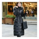 Big Fur Collar Plus Size Extra Long Thick Slim Down Coat   black
