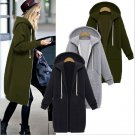 Womens Zip Front Fleece Long Hoodie Sweatshirt Jacket Plus Size