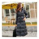 Winter Light Thin Down Slim Coat Extra Long Plus Size    black