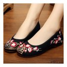 Plum Blossom Old Beijing Cloth Embroidered Shoes   black