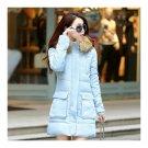 Winter Woman Middle Long Woman Thick Fur Collar Cotton Coat    blue