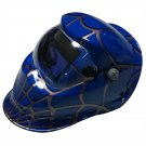 Custom Made Welding Helmets in Blue Shade with Spider Web Graphic Design
