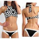 Fashionable Bikini Swimwear Swimsuit Bathing Suit Black White Grid
