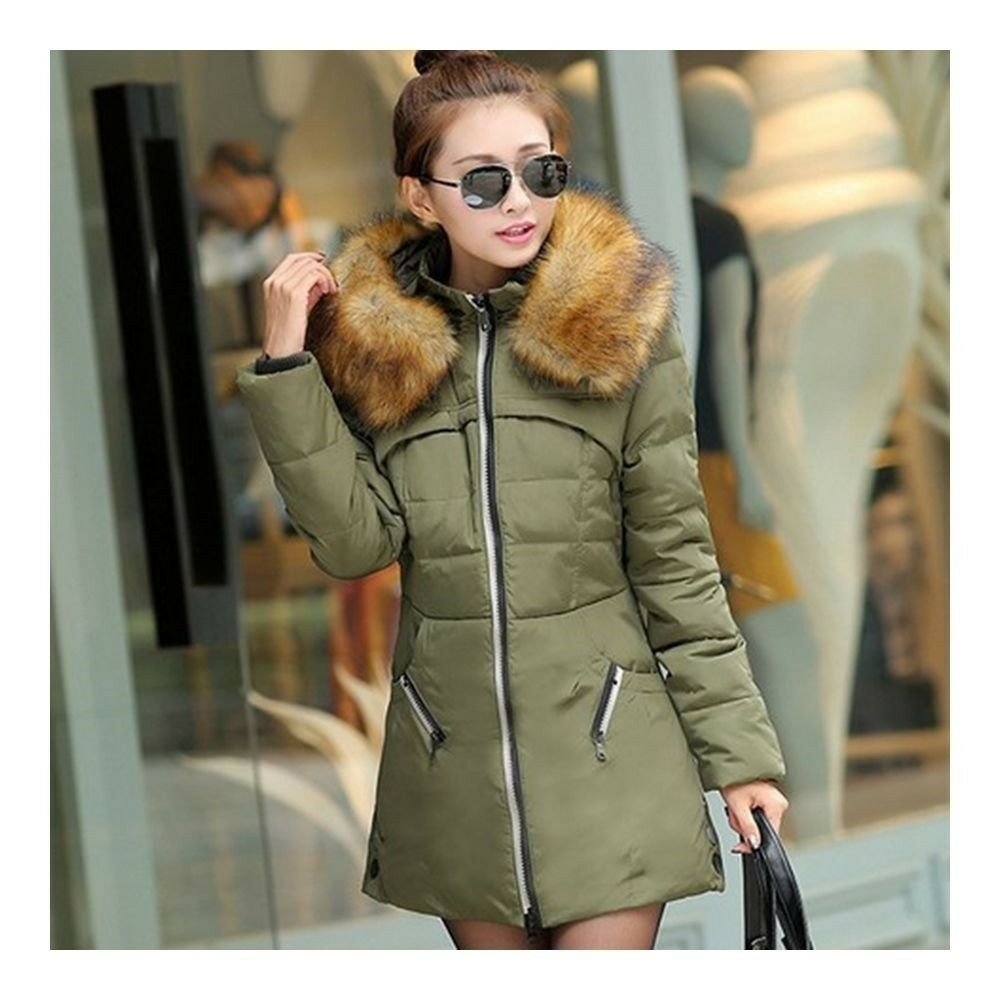 Winter Woman Slim Down Coat Plus Size Thick Fur Collar   green