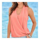 Solid Color V-necked Chiffon Splicing Vest   pink