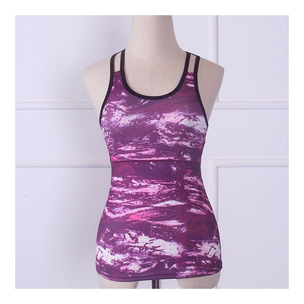 Yoga Fitness Sports Vest Running Dry Fast ( Padded )   red stone