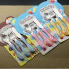 The First Cutlery Set Knife Fork Spoon Kids Toddler Mealtime Happy Day Metal