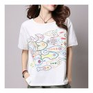 Loose Casual Little Fish Short Sleeve T-shirt   white