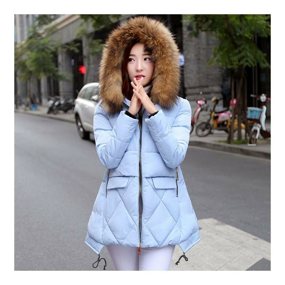 Winter Slim Middle Long Cotton Coat Plus Size Thick Hoodied Fur Collar    lake b