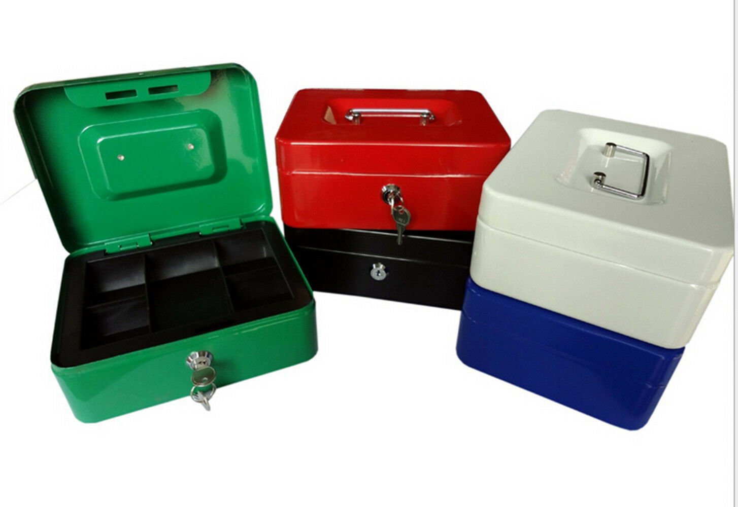 8 Inch Small Steel Cash Box Safty box With Removable Tray and Key Lock 2 keys