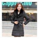 Winter Slim Down Coat Woman Fur Collar Middle Long   black